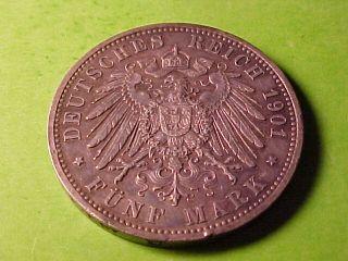 Prussia 5 Marks Silver Crown 1901 Friedrich Wilhelm II Nice