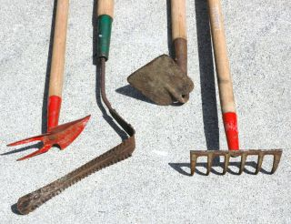 Vintage Garden Lawn Tools by Union Lot of 4 Hoe Rake Weed Grass Cutter