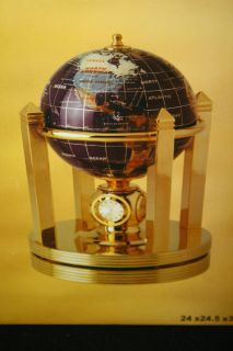 Alexander Kalifano GEMSTONE GLOBE with CLOCK AND ROTATING BASE NIB see