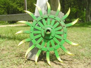 Iron Vintage Old Tiller Hoe Garden Art Wheel 1358