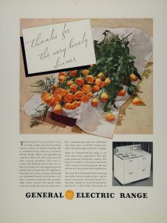 1934 Ad GE General Electric Range Imperial Stove Roses   ORIGINAL