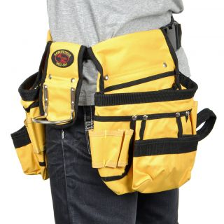 Double Pouch Pocket Tool Belt Bag with Hammer Tape Drill Screwdriver