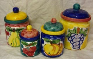 Tabletops Unlimited Fruita de Roma Cannister Set of Four