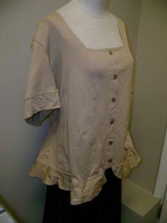 George Simonton Short Sleeve Knit Top w/ Button Detail XL NWOT