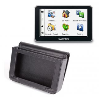 Black Leather Carry Case Cover Fits Garmin Nuvi 3790T 3490LMT