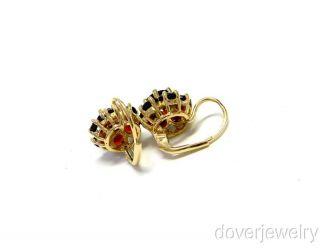 Estate 14k Gold 4 00ct Garnet Flower Drop Earrings