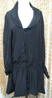 Geren Ford Womens Gorgeous Black Silk Blouson Sleeve Drop Waist Shirt