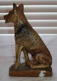 Vintage Cast Iron German Shepherd Dog Door Stop Doorstop Original