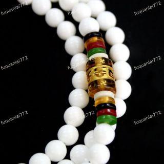 6mm 108 Tibetan Buddhism White Shell Praying Prayer Beads Bracelet