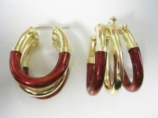 Gaston Lebo Designer 18kt Gold and Red Enamel Earrings