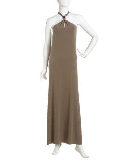 Michael Michael Kors Halter Maxi Dress Safari Green