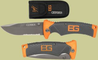 Gerber Bear Grylls Folding Sheath Knife Black Combo Edge Lockback