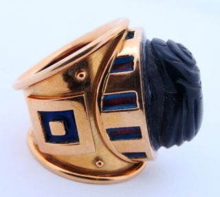 Ladies Designer Elizabeth Gage 18K Gold Black Jade scrab Ring