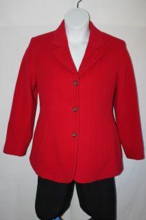 Herman Geist Blazer Jacket Cashmere Wool Blend 3 Button Front Red
