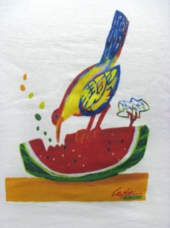 David Gerstein Bird with Watermelon T Shirt White
