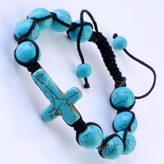 Strand Howlite Turquoise Gemstone Ball Beads Cross Woven Macrame
