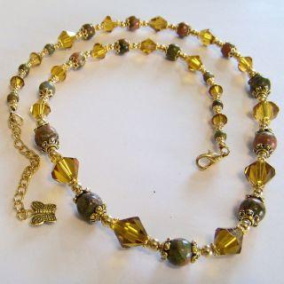 Brazilian Unakite Gemstone Crystal Necklace 18