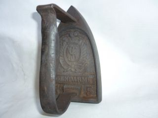 Antique French Police Gendarme No5 Sad Iron 1900`s VERY RARE