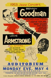 Louis Armstrong Benny Goodman w Gene Krupa Concert Poster Circa 1953