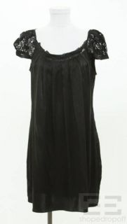 Galliano John Galliano Black Silk Lace Sleeve Dress Size 32/46