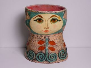Vintage Signed Gemma Taccogna Mod Papier Mache Pen or Pencil Holder