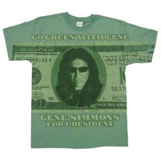 KISS Gene Simmons New Mens T Shirt sz M 100 Cotton Green Rock Band