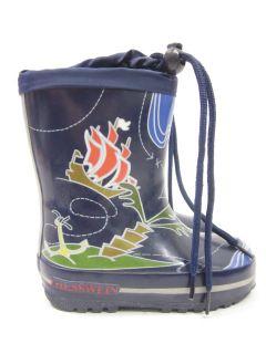 Giesswein Boys Navy Blue Graphic Rain Boots Sz 6