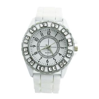 Geneva Silicone Rubber Gel Crystal Quartz Unisex Jelly Wrist Watch New