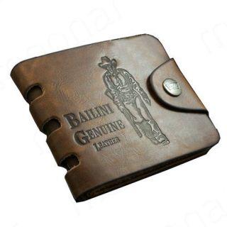 New Cowboy Mens Genuine Leather Bifold Wallet Multi Pocket Purse