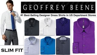 Mens Shirt Geoffrey Beene Designer Slim Fit Non Iron Wrinkle Free RRP