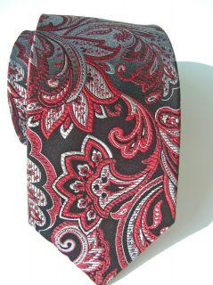 Geoffrey Beene $59 Men Silk Tie Black Burgundy Red Floral Sharp