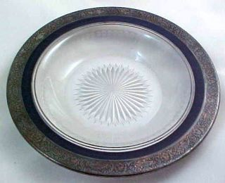 Antique Heisey Cut Glass Large Bowl Silver Overlay Blue Band Etched