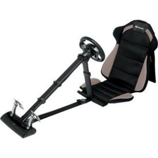 Racing Racin Pro Seat Steering wheel and Pedals for PS3 PC Gray Grey