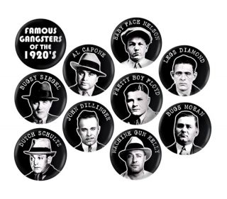 PROHIBITION GANGSTERS BUTTONS 10 PINS 1920S MAFIA