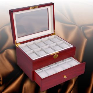 Mens Style Cherry Wood Watch Display Case Glass Top Jewelry Box