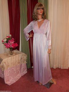 GILEAD Vintage 2 pc Peignoir Set Nightgown Robe pale purple nylon sz S