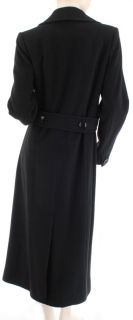 George Simonton Couture Designer Black Long Wool Cashmere Coat Womens