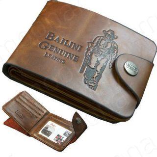 Cowboy Mens Genuine Leather Bifold Wallet Multi Pocket Purse Passcase