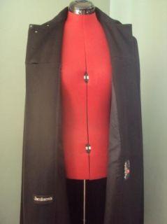 Womens Jacobsens George David Long Black Wool Cape Jacket Coat s M L