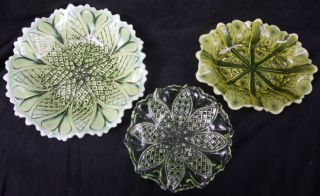 Antique English Victorian George Davidson Vaseline Glass Bowls