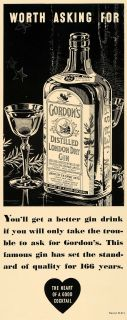 1935 Ad Gordons Distilled London Dry Gin Bottle Glass