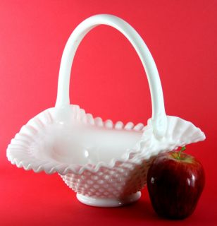 Estate Vintage Fenton White Milk Glass Basket Hobnail Pattern Crimped