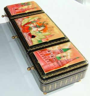 High Quality Fedoskino Russian Lacquer Box Saint George