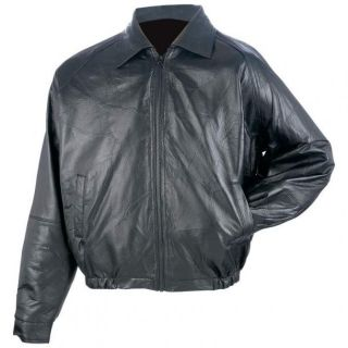 New Giovanni Navarre Mens Black Genuine Leather Bomber Jacket Classic