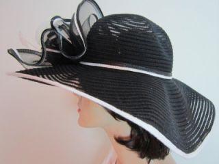 Giovannio Womens Black White Kentucky Derby Large Brim Church Hat