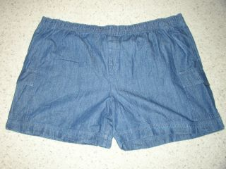 New Mens George Dark Blue Jean Pullon Cargo Shorts 2XL 3XL