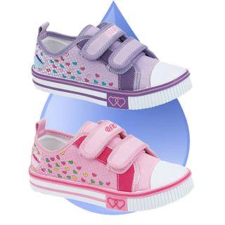Childrens Girls Boys Kids Pumps Plimsolls Velcro Canvas Trainers