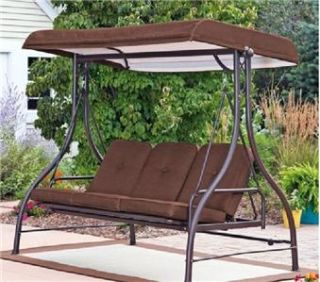 Outdoor 3 Triple Seater Hammock Swing Glider Canopy Patio Deck