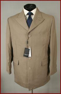 George Martin Mens Taupe Pinstripe Blazer Suit Jacket 42 R