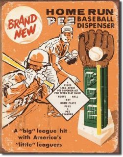 Tin Metal Sign Pez Dispenser Baseball Candy Ball Glove Bat 1445